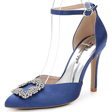 40b39064af9 Women s Silk Summer   Fall D Orsay   Two-Piece Sandals Stiletto Heel  Pointed Toe Rhinestone   Crystal   Sparkling Glitter White   Light Pink    Royal Blue ...