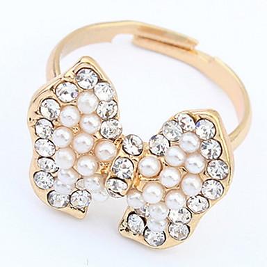 Damen Ring Bandring Imitierte Perlen Personalisiert Einzigartiges Design Logo Stil Klassisch Retro Böhmische Grundlegend Britisch USA