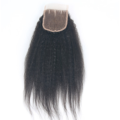 povoljno Perike i ekstenzije-ELVA HAIR Brazilska kosa 3.5x4 Zatvaranje Klasika / Kinky Ravno Besplatno dio / Središnji dio / 3. dio Švicarska čipka Ljudska kosa Dnevno