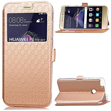 Capinha Para Huawei / Huawei P8 Lite Porta-Cartão / Com Suporte / com Visor Capa Proteção Completa Sólido Rígida PU Leather para P8 Lite (2017) / Huawei P8 Lite / Huawei