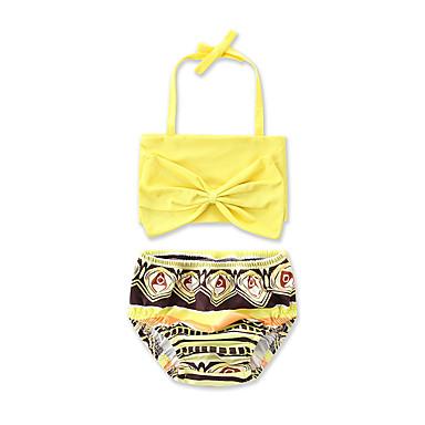 baratos Roupas de Banho para Meninas-Bébé Para Meninas Estampa Animal Laço Geométrica Estampado Algodão Roupa de Banho Amarelo