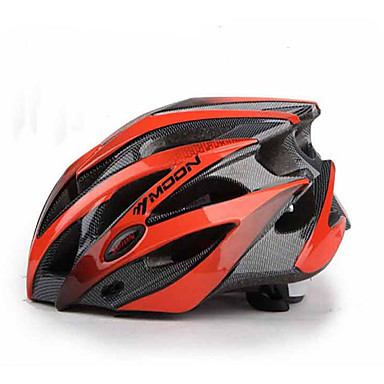 MOON Bike Helmet 25 Ventiler Halv Skald PC, EPS Vej Cykling / Cykling / Cykel / Mountain Bike Rød Sort