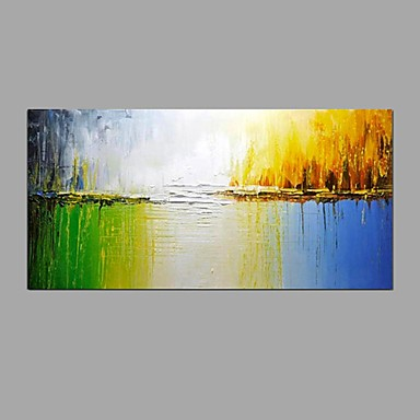 Ručně malované Abstraktní Horizontálně,Moderní evropský styl Jeden panel Plátno Hang-malované olejomalba For Home dekorace