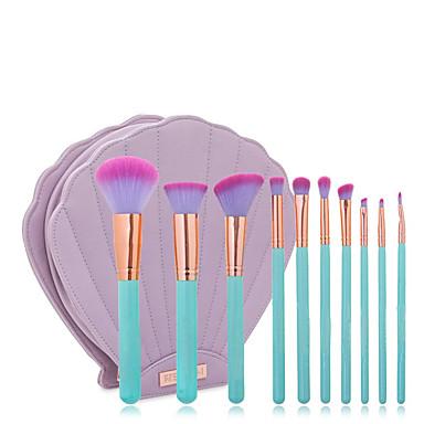 10pçs Pincéis de maquiagem Profissional Conjuntos de pincel / Pincel para Blush / Pincel para Lábios Pêlo Sintético / Escova de Fibra