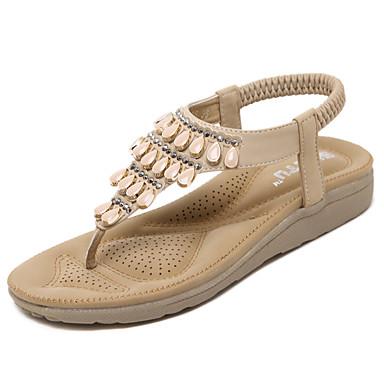 voordelige Damessandalen-Dames Sandalen Sleehak Ronde Teen Strass / Elastiek PU Comfortabel / Lichtzolen Wandelen Lente / Zomer Zwart / Amandel