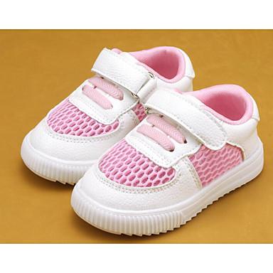 여아 플랫 첫 신발 봄 가을 레더렛 워킹화 캐쥬얼 매직 테이프 낮은 굽 화이트 블랙 레드 /화이트 플랫