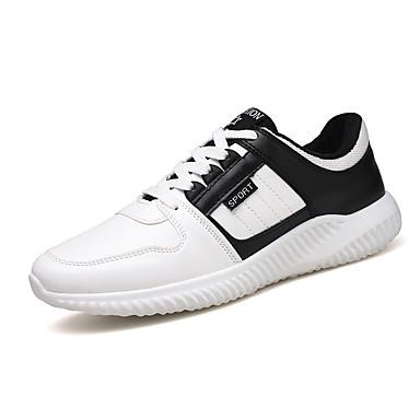 Herren Schuhe PU Frühling Sommer Komfort Sneakers Schnürsenkel Für Sportlich Normal Blau Schwarz/weiss Rot/Weiß