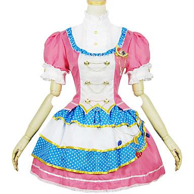 Doce Lolita Mulheres Roupa Cosplay Rosa claro Manga Curta Curto / Mini Fantasias