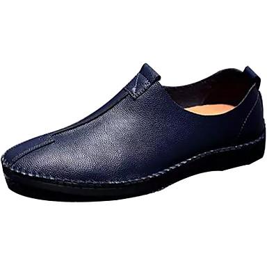 Homens Loafers de conforto Pele Primavera / Outono Conforto Mocassins e Slip-Ons Caminhada Preto / Azul Escuro / Castanho Claro