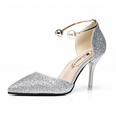 Damen Schuhe PU Sommer Komfort Sandalen Walking Niedriger Heel Spitze Zehe für Draussen Gold Schwarz Silber