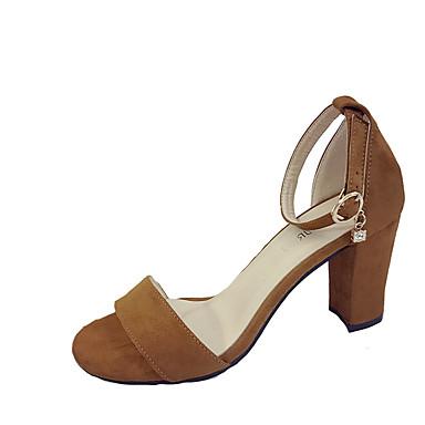 Mulheres Sapatos Couro Ecológico Primavera / Verão Gladiador / Sapatos clube Sandálias Salto Robusto Dedo Aberto Presilha Preto /