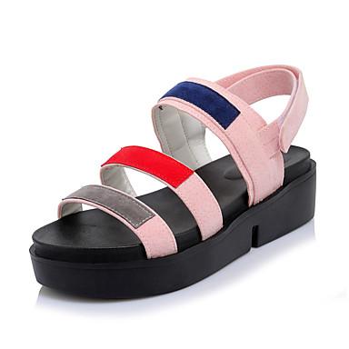 Mulheres Sapatos Courino Primavera / Verão Conforto Sandálias Creepers Dedo Aberto Colchete Preto / Verde / Rosa claro