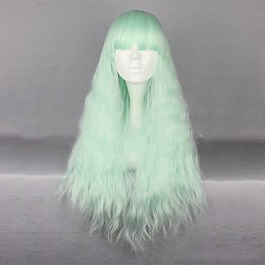 Perucas sintéticas / Perucas de Fantasia Kinky Curly Cabelo Sintético Verde Peruca Mulheres Longo Sem Touca Verde