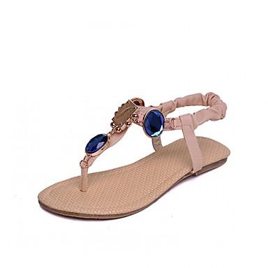 Mulheres Sapatos Courino Couro Ecológico Primavera Verão Conforto Inovador Rasos Caminhada Sem Salto Peep Toe Pedrarias para Casamento