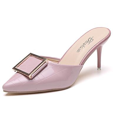 Mulheres Sapatos Couro Ecológico Verão Conforto Sandálias Salto Agulha Preto / Vermelho / Rosa claro
