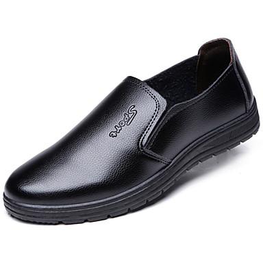 Homens sapatos Couro Primavera Outono Conforto Mocassins e Slip-Ons Caminhada Rendado para Casual Preto Marron