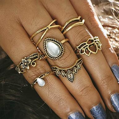 للمرأة خاتم - سبيكة تاج تصميم فريد, قديم قياس واحد ذهبي / فضي من أجل حزب يوميا فضفاض / 7PCS