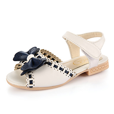 Girls' Sandals Summer Comfort Leatherette Outdoor Office & Career Party & Evening Casual Low Heel Bowknot Magic Tape
