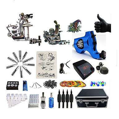 BaseKey Tätowiermaschine Professionelles Tattoo Kit - 3 pcs Tattoo-Maschinen LED-Stromversorgung Aufbewahrungshülle inklusive 2 x Stahl-Tattoomaschine für Umrißlinien und Schattierung / 1 x