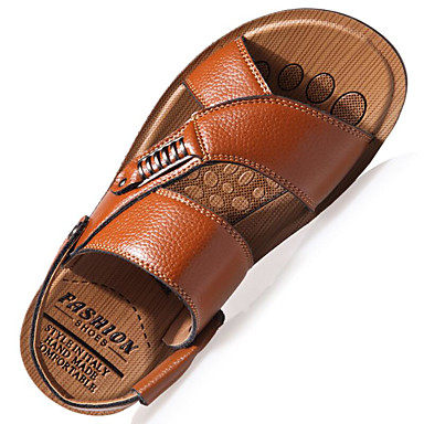 cheap Shoes Trends-Men's Comfort Shoes Leather Spring / Summer Sandals Walking Shoes Black / Brown / Khaki / Casual / Rivet / Outdoor