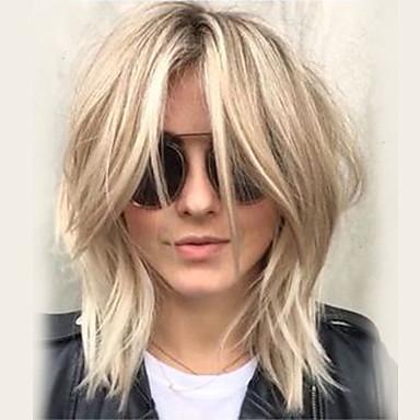 זול ללא מכסה-שיער ללא שיער שיער אנושי גלי תספורת שכבות / עם פוני חלק צד בינוני הוכן באמצעות מכונה פאה בגדי ריקוד נשים