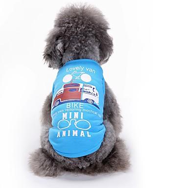 قط / كلب T-skjorte / سترة ملابس الكلاب هندسي أبيض / أزرق قطن كوستيوم للحيوانات الأليفة صيف للرجال / للمرأة كاجوال / يومي / موضة