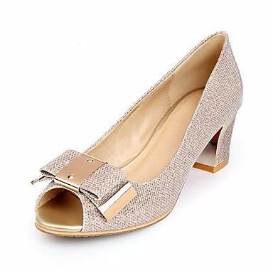 Mujer Zapatos Tul Verano Talón Descubierto Sandalias Tacón Cuadrado Dorado / Plateado 9Fs1u