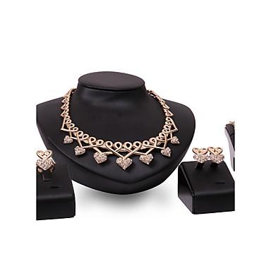 Mulheres Gema Strass Coração Conjunto de jóias Anéis 1 Colar 1 Par de Brincos 1 Bracelete - Personalizada Luxo Amor Euramerican Fashion