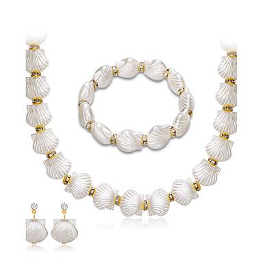 Mulheres Pérola Strass Conjunto de jóias 1 Colar 1 Par de Brincos 1 Bracelete - Euramerican Fashion Forma Geométrica Branco Colar com