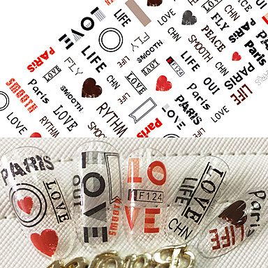 1pcs 핫 패션 네일 아트 3D 스티커 귀여운 사랑 마음 아름다운 디자인 성격 영어 알파벳 장식 네일 DIY 뷰티 f124에 대한