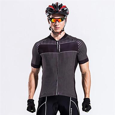 WOSAWE Manga Curta Camisa para Ciclismo - Preto Moto Camisa / Roupas Para Esporte, Respirável, Redutor de Suor Poliéster / Com Stretch