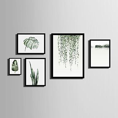 Quadros Emoldurados Conjunto Emoldurado Paisagem Floral/Botânico Arte de Parede, PVC Material com frame Decoração para casa Arte