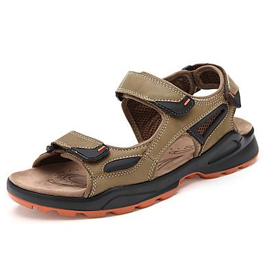 للرجال جلد ربيع / صيف مريح صنادل أحذية متماشية كوفي / أخضر