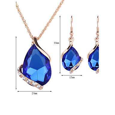Mulheres Cristal Conjunto de jóias - Rosa ouro, Cristal, Strass Caído Fashion Incluir Brincos Compridos / Colares com Pendentes / Colar / Brincos Vermelho / Verde / Azul Para Casamento / Festa