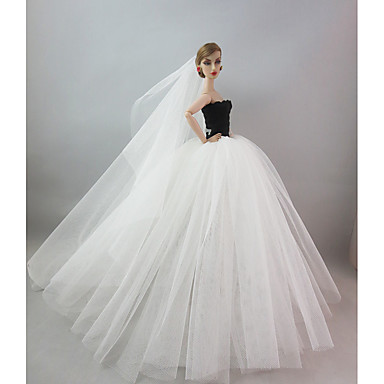 Casamento Vestidos Para Boneca Barbie Elastano Licra Terylene Vestido Para Menina de Boneca de Brinquedo