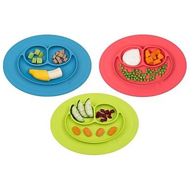 1pcs novo bebê criança miúdos placemat alimentos de uma peça de silicone dividido prato tigela placas
