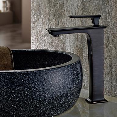 torneira da pia do banheiro - chuveiro de chuva esfregou o centro de bronze único punho de um buraco torneiras de banho