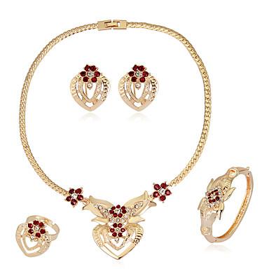 Mulheres Conjunto de jóias - Strass Coração Fashion, Euramerican Incluir Brincos Curtos / Pulseira / Colar / anel Dourado Para Casamento / Festa / Aniversário / Anéis / Presente / Diário / Colares