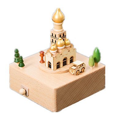 Caixa de música Modelos de madeira Brinquedos de Montar Madeira Quadrada Carrossel Merry Go Round Fofinho O Castelo no Céu Unisexo Dom