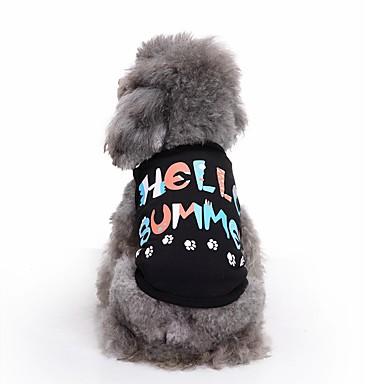 Gato Cachorro Camiseta Colete Roupas para Cães Carta e Número Preto Algodão Ocasiões Especiais Para animais de estimação Homens Mulheres
