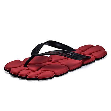 남성 구두 PU 여름 컴포트 슬링백 조명 신발 슬리퍼 플립 플롭 제품 캐쥬얼 블랙 브라운 레드 블루