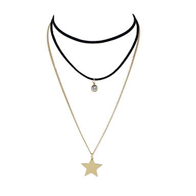 Mulheres Estrela colares em camadas - cromada Básico Crossover Formato de Linha Estrela Colar Para Diário Casual