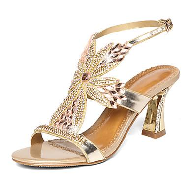 Mulheres Sapatos Microfibra Verão Outono Conforto Inovador Sapatos clube Sandálias Caminhada Salto Agulha Dedo Aberto Pedrarias Cristais