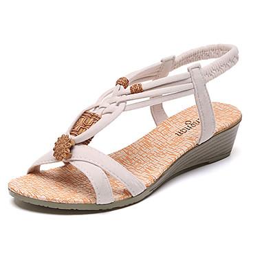 f40180378ac Women s PU(Polyurethane) Summer Comfort Sandals Flat Heel   Low Heel Open  Toe Ruffles Black   Beige
