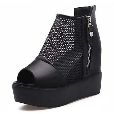 Naiset Sandaalit Kevät Nahka Musta Tasapohja