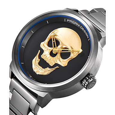 cheap Women's Watches-Men's Casual Watch Sport Watch Fashion Watch Swiss Quartz Stainless Steel Black / Silver 30 m Water Resistant / Waterproof Creative Cool Analog Charm Luxury Vintage Casual Skull - Gold Black Silver