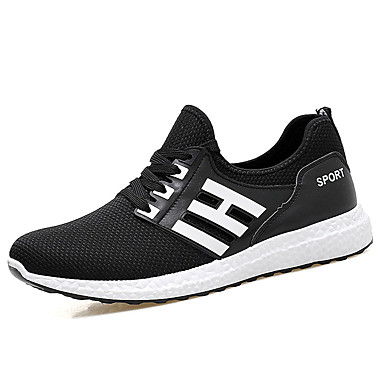 Homens sapatos Tule Primavera Outono Conforto Tênis Caminhada Cadarço para Atlético Preto Azul Escuro
