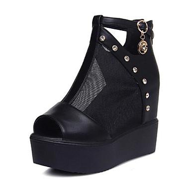 Naiset Kengät Tyll PU Kevät Comfort Sandaalit Käyttötarkoitus Kausaliteetti Valkoinen Musta