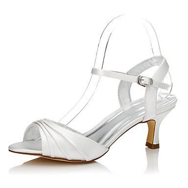 Women's Shoes Silk Spring / Summer Comfort / Dyeable Shoes Wedding Shoes Low Heel Round Toe / Peep Toe Ivory / Party & Evening