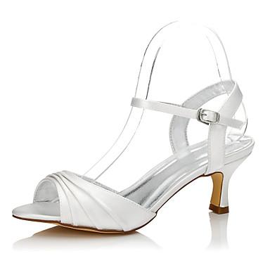 Mulheres Sapatos Seda Primavera / Verão Conforto / Sapatos Dyeable Sapatos De Casamento Salto Baixo Ponta Redonda / Peep Toe Ivory